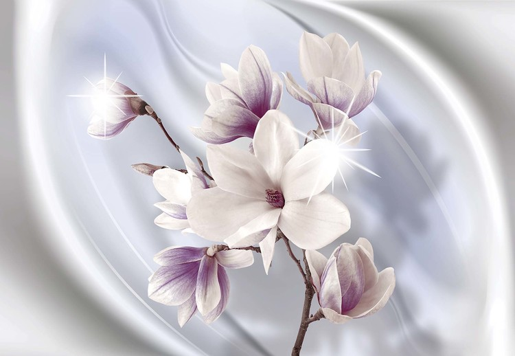 Magnolia Modern Floral Design Blue Wallpaper Mural