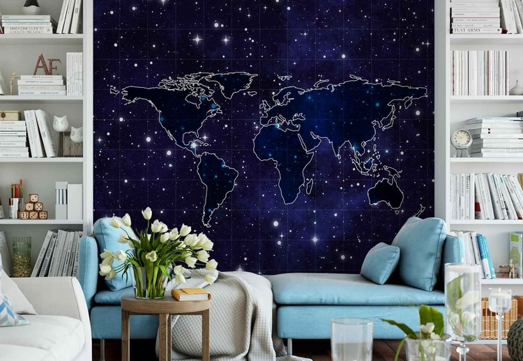 Map And Stars Wallpaper Mural