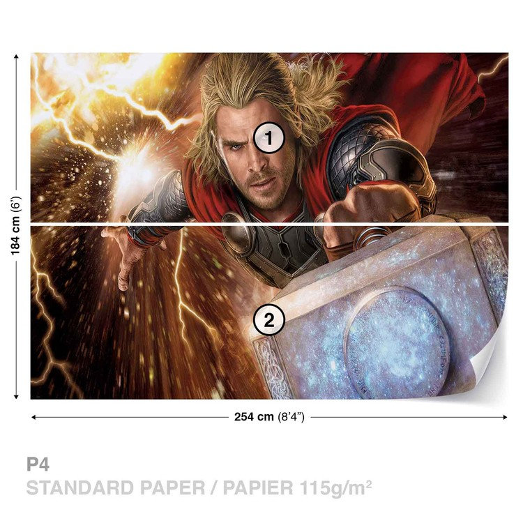 Marvel Avengers Thor Wall Paper Mural Buy At Abposters Com