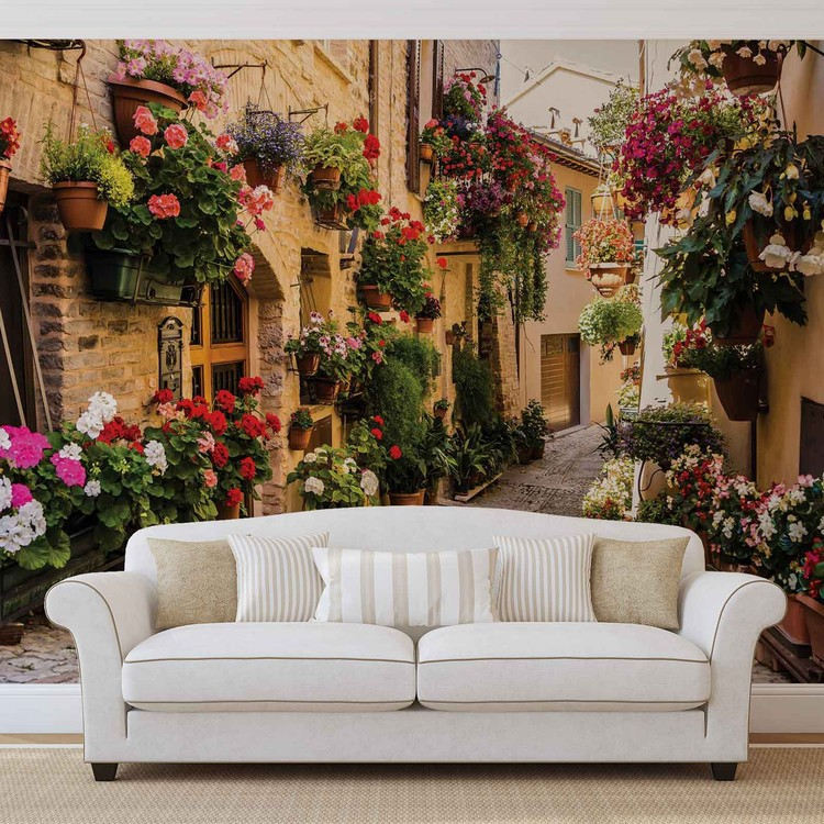 Mediteranean With Flowers Wallpaper Mural