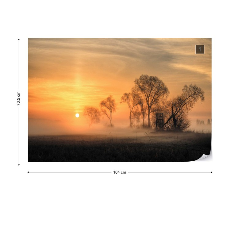 Misty Sunset Wallpaper Mural