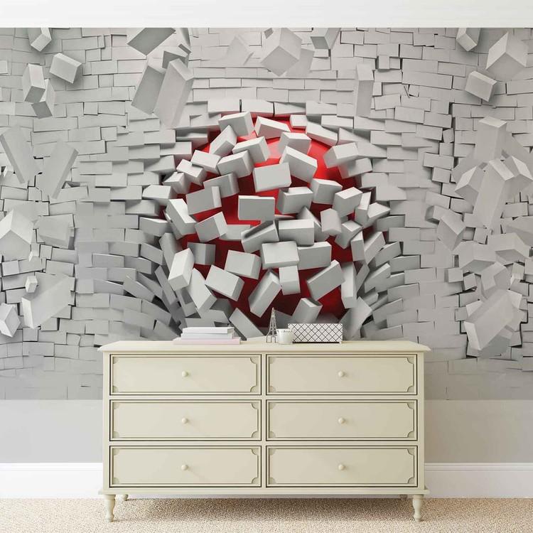 Modern Abstract Brick Wall Wallpaper Mural
