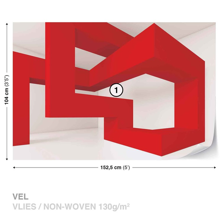 Modern Abstract Red White Wallpaper Mural