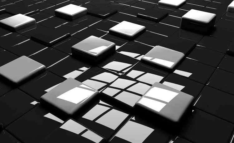 Modern Abstract Squares Black White Wallpaper Mural