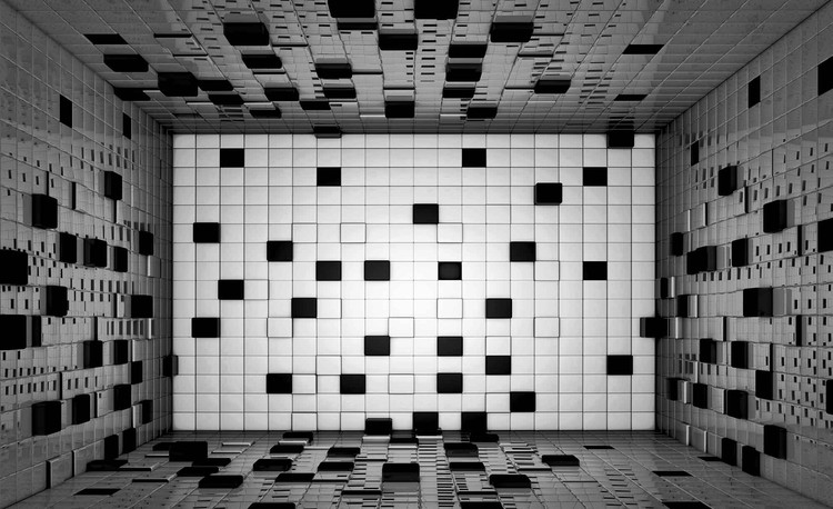Modern Abstract Squares Black White Wallpaper Mural