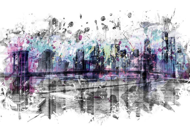 Modern Art NEW YORK CITY Skyline Splashes Wallpaper Mural