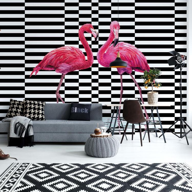 Modern Tropical Flamingos Wall Paper Mural Buy At Europosters