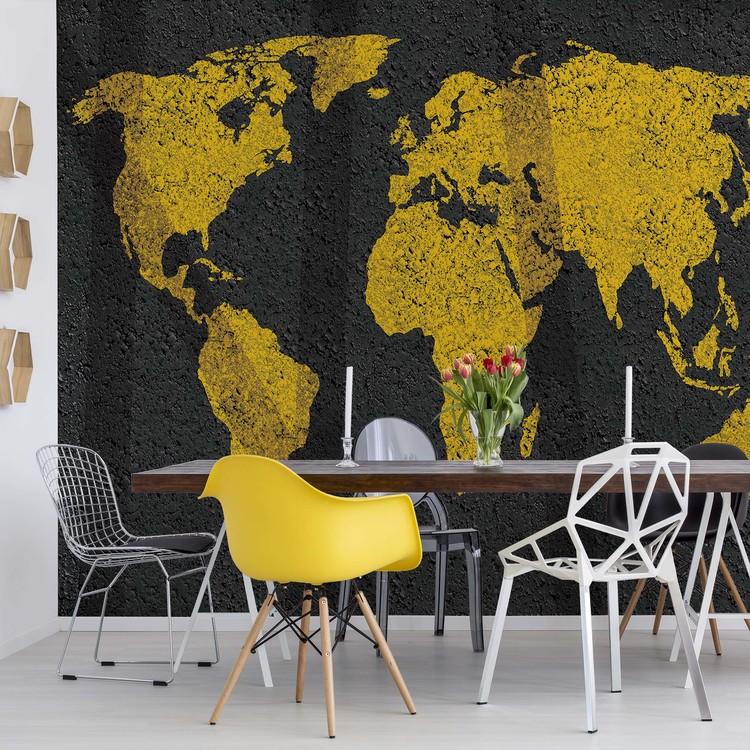 Modern World Map Grunge Texture Wallpaper Mural