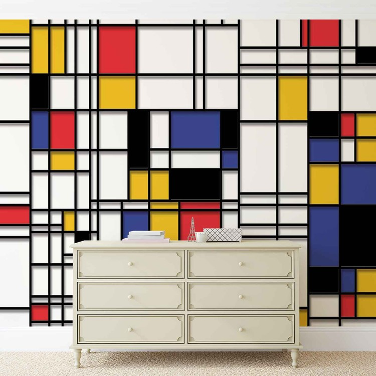 ... Mondrian Modern Art Wallpaper Mural ...