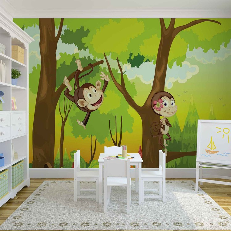 Monkeys Boys Bedroom Wallpaper Mural