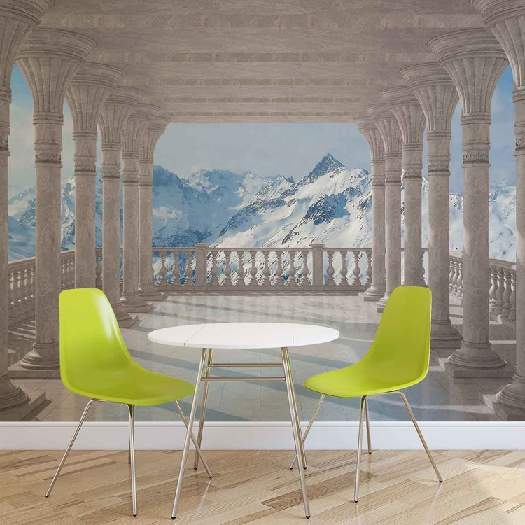 Mountain Scene Through The Arches Wallpaper Mural