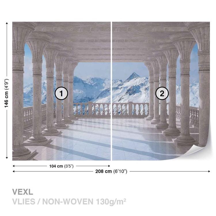 Mountain Scene Through The Arches Wallpaper Mural