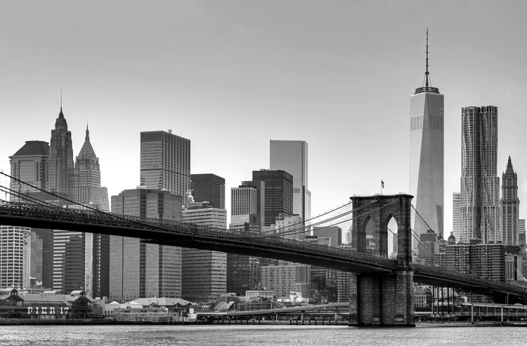 New York - Brooklyn Bridge (B&W) Wallpaper Mural