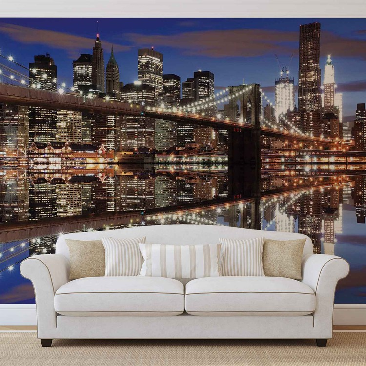 New York Brooklyn Bridge Night Wallpaper Mural