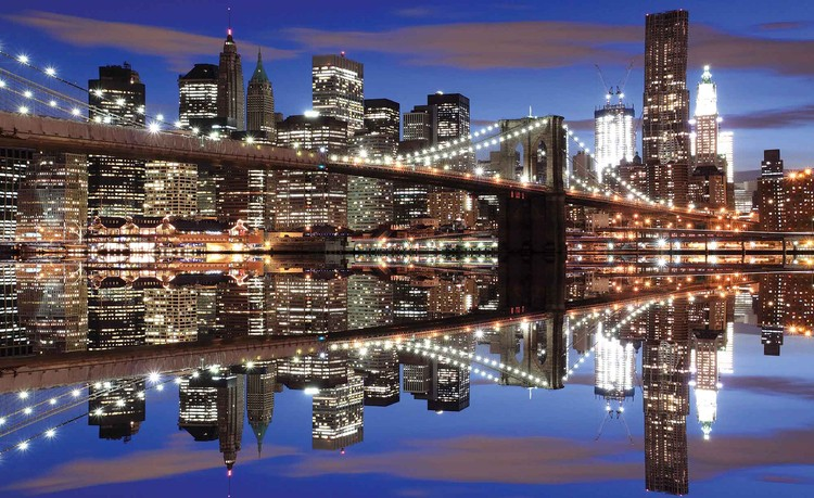 New York Brooklyn Bridge Night Wallpaper Mural