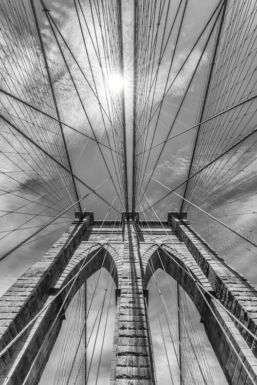 NEW YORK CITY Brooklyn Bridge in Detail Wallpaper Mural