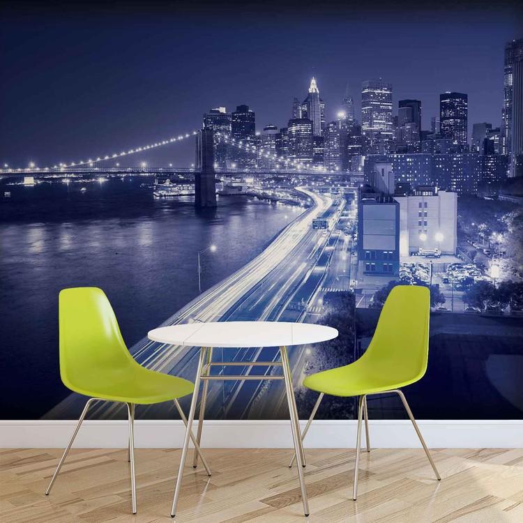 New York City Brooklyn Bridge Lights Wallpaper Mural