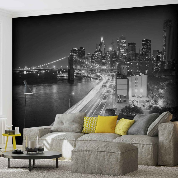 New York City Brooklyn Bridge Lights Wallpaper Mural