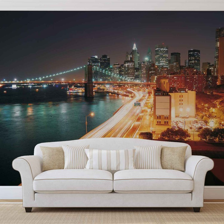 new york city skyline night wall paper mural buy at europosters