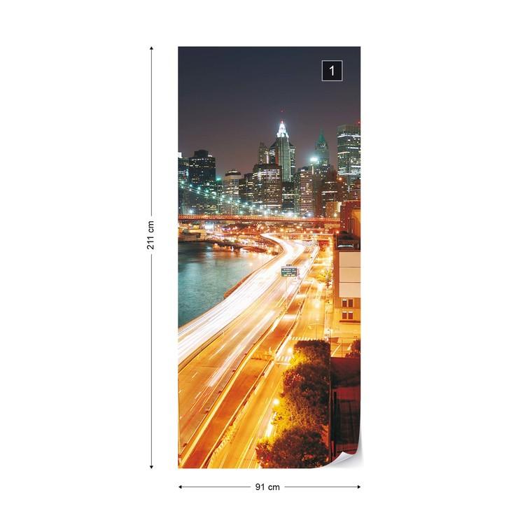 New York City Skyline Night Wallpaper Mural