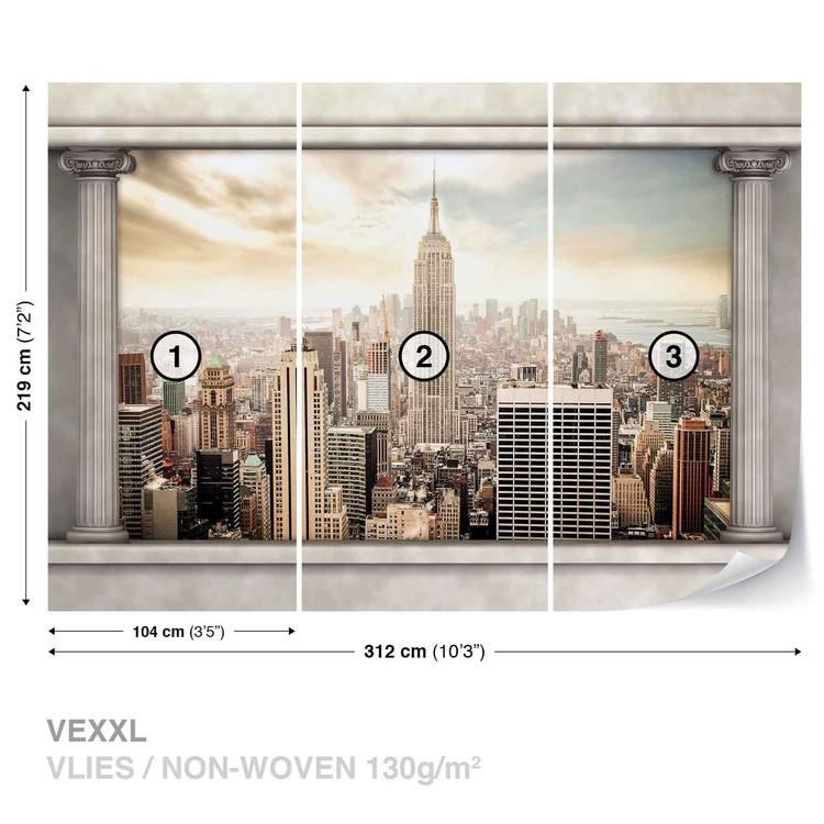 New York City View Pillars Wallpaper Mural