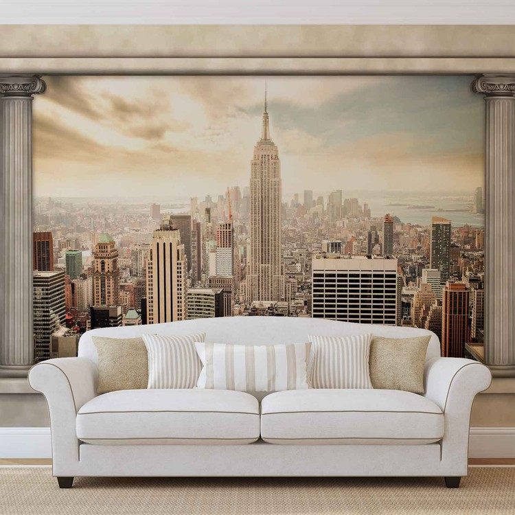 New York City View Pillars Wallpaper Mural