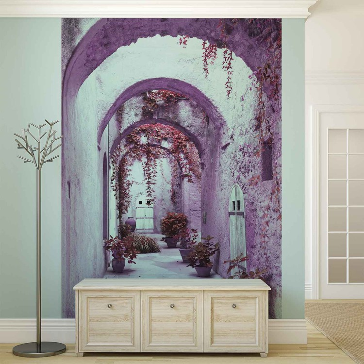 Passage Flowers Pink Wallpaper Mural