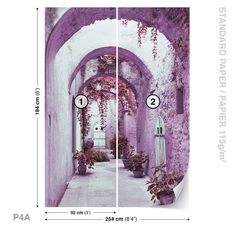 Passage Flowers Pink Wallpaper Mural