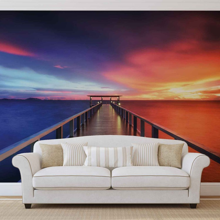Path Bridge Sun Sunset Multicolour Wallpaper Mural