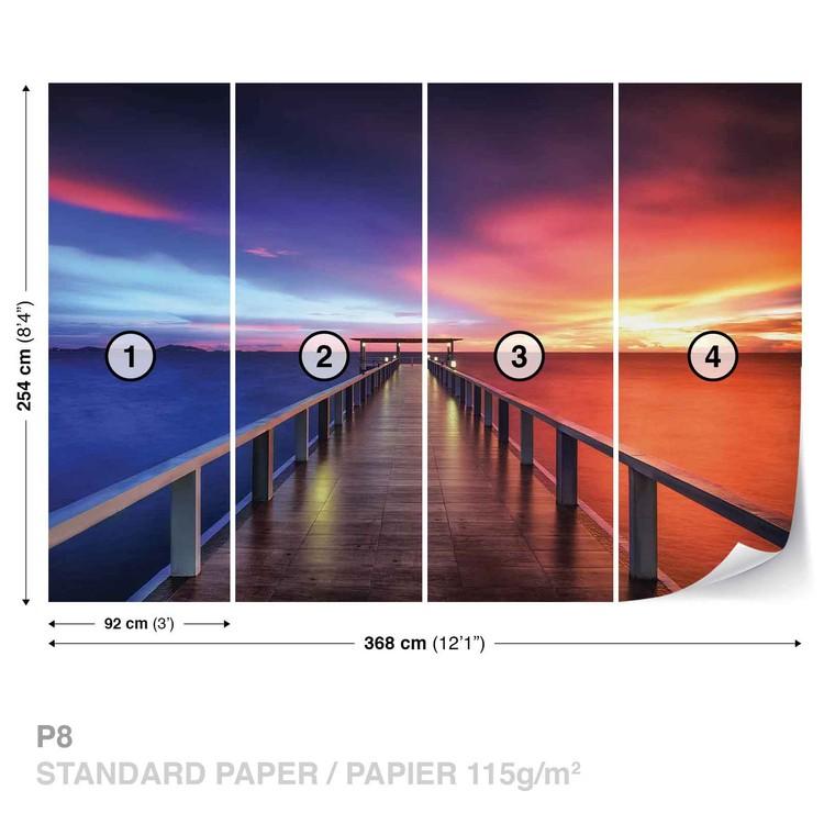 Path Bridge Sun Sunset Multicolour Wallpaper Mural
