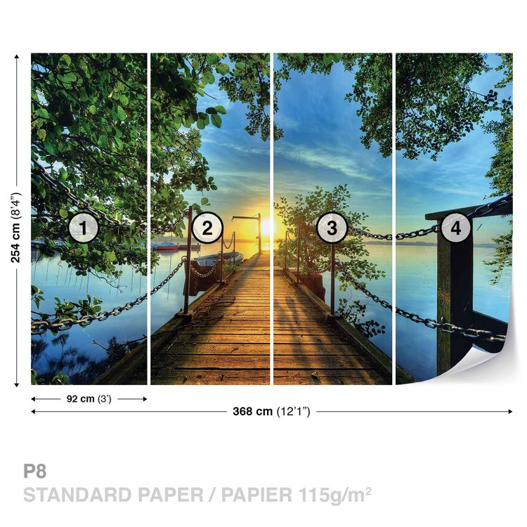 Path Pier Trees Boats Sunset Wallpaper Mural
