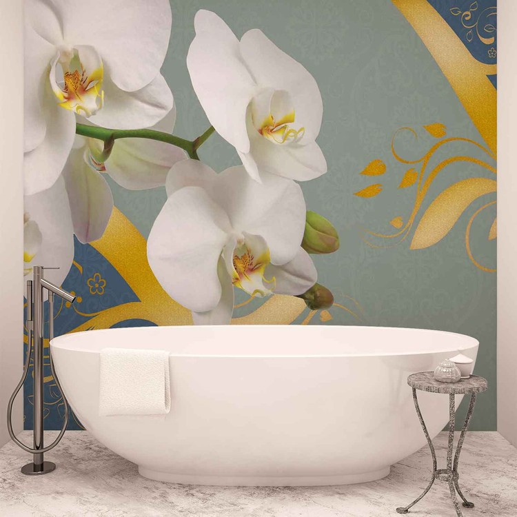 Pattern Flowers Orchids Abstract Wallpaper Mural