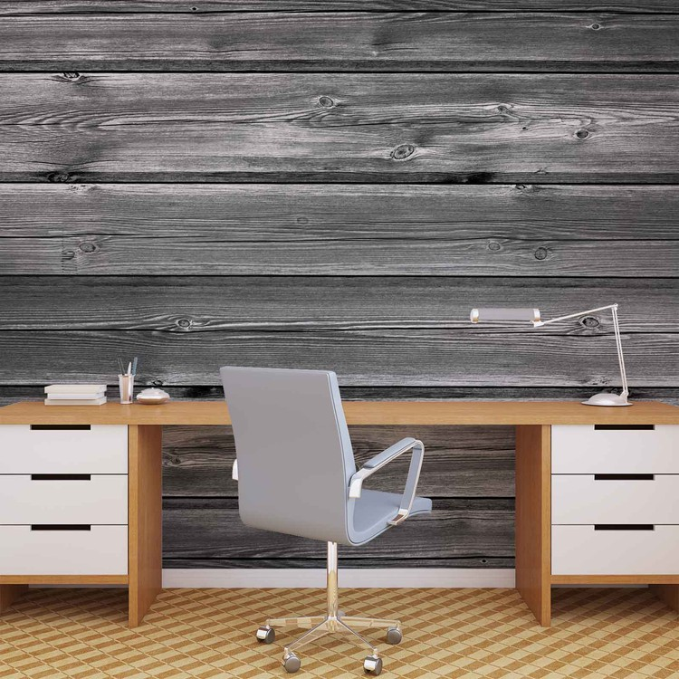 Pattern Grey Wooden Wall Paper Mural Buy at EuroPosters