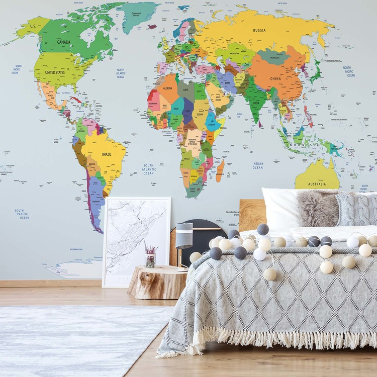 Political World Map Atlas Wallpaper Mural