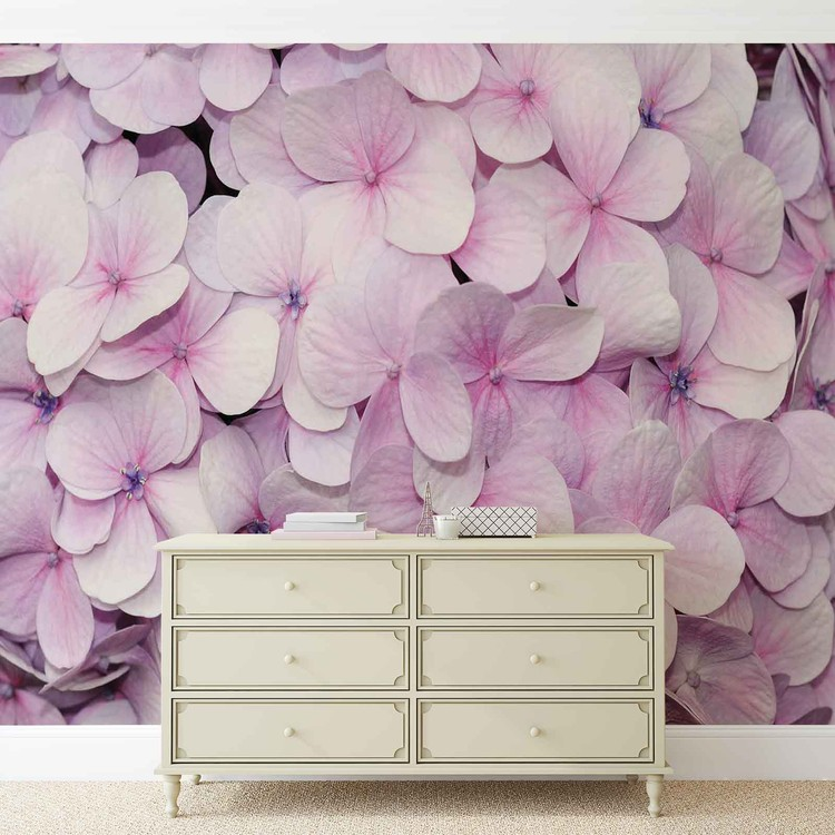 Purple Flowers Floral Design Wallpaper Mural