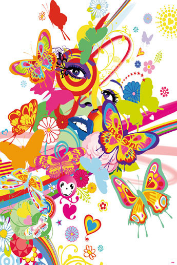 RAINBOW FACE Wallpaper Mural