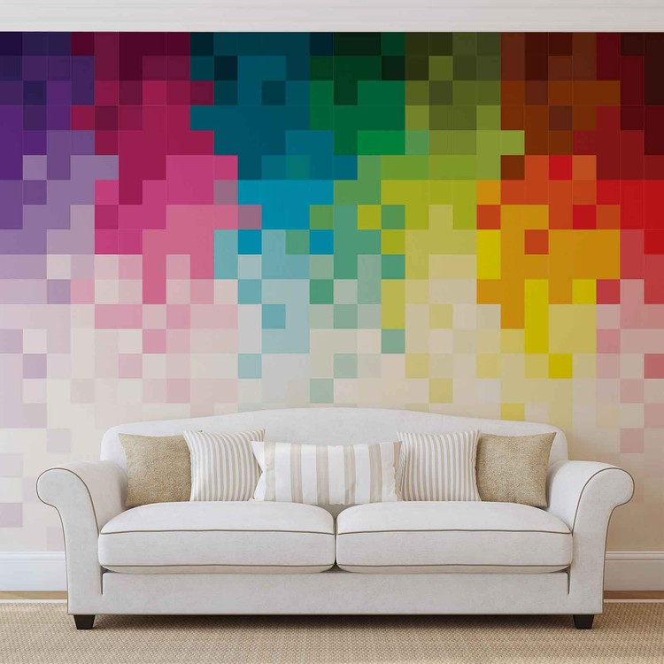 Rainbow Pattern Pixel Wallpaper Mural