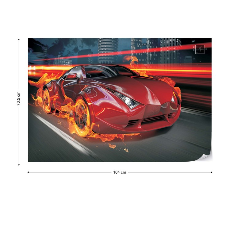 Red Car Wall Paper Mural Buy At Europosters