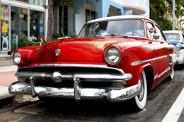 Wallpaper Mural Red Classic Ford