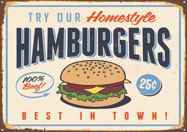 Retro Poster Hamburgers Wallpaper Mural