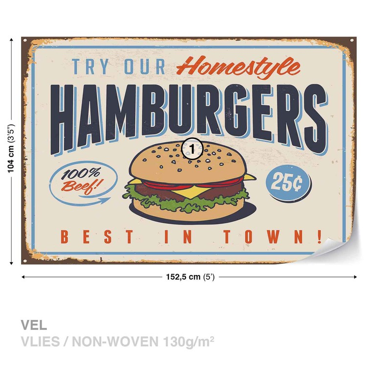 Retro Poster Hamburgers Wallpaper Mural