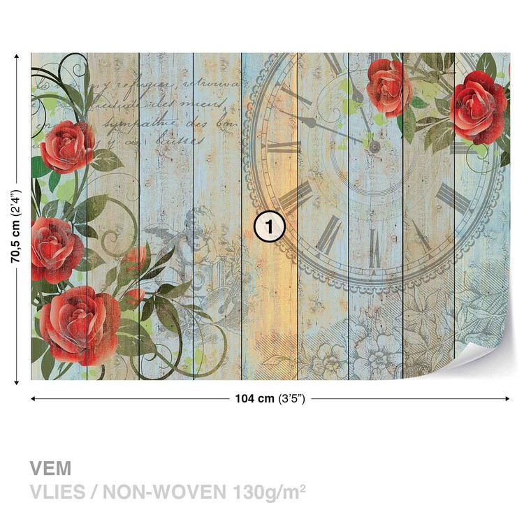 Roses Clock Wood Planks Vintage Wallpaper Mural