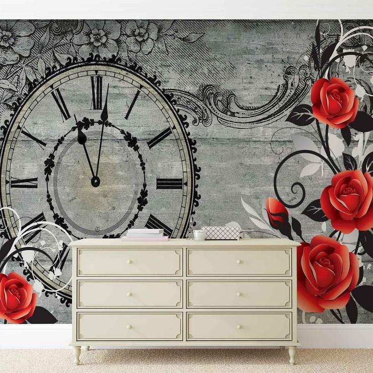 Roses Clock Wood Planks Vintage Wallpaper Mural