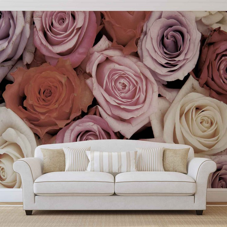 Roses Flowers Pink Purple Red Wallpaper Mural