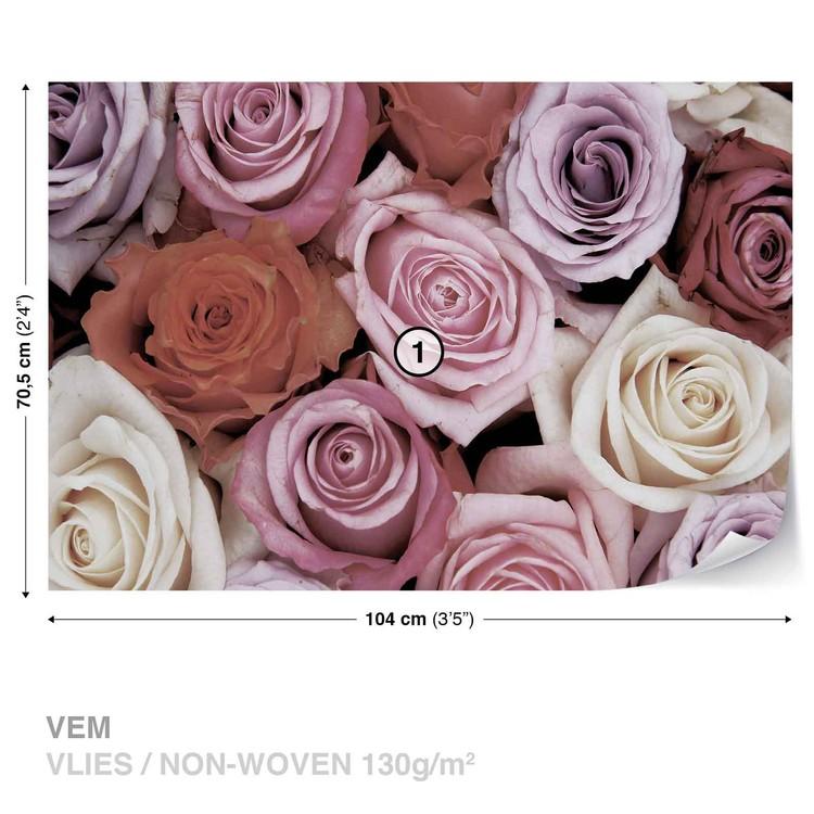 Roses Flowers Pink Purple Red Wallpaper Mural