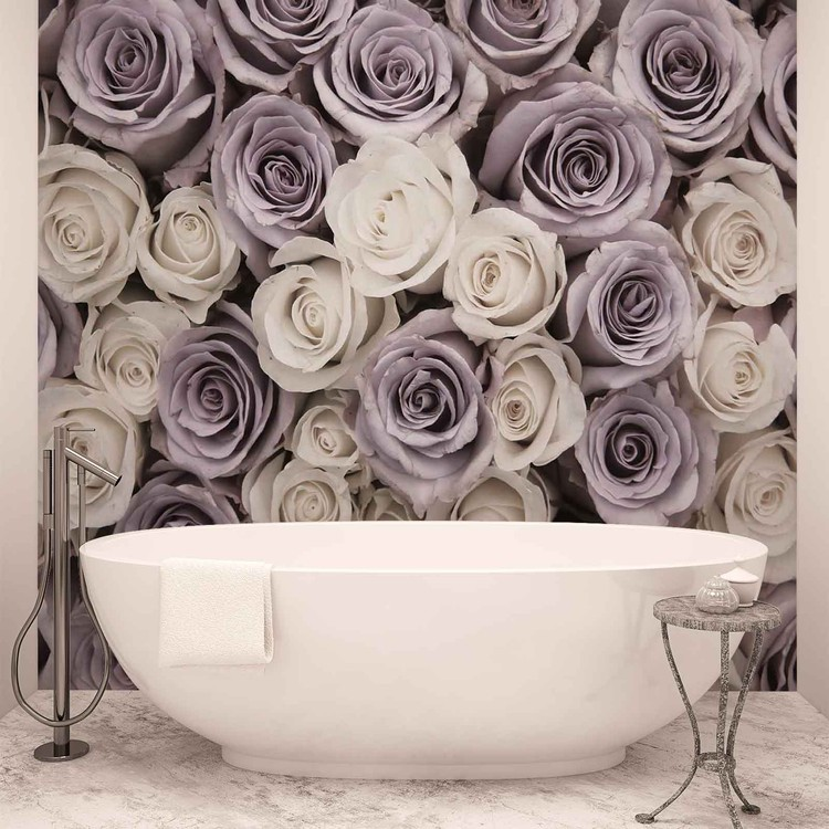 Roses Flowers Purple White Wallpaper Mural