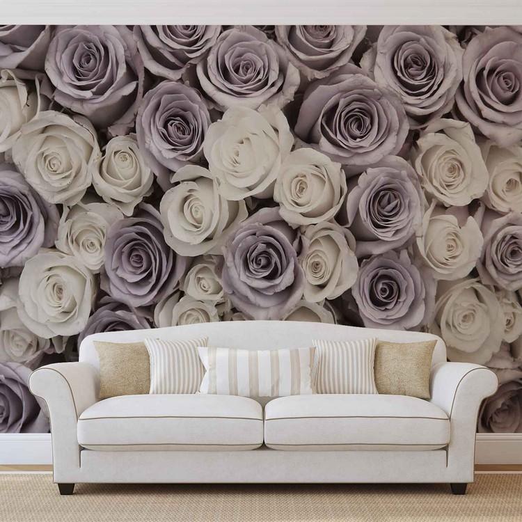 Roses Flowers Purple White Wallpaper Mural