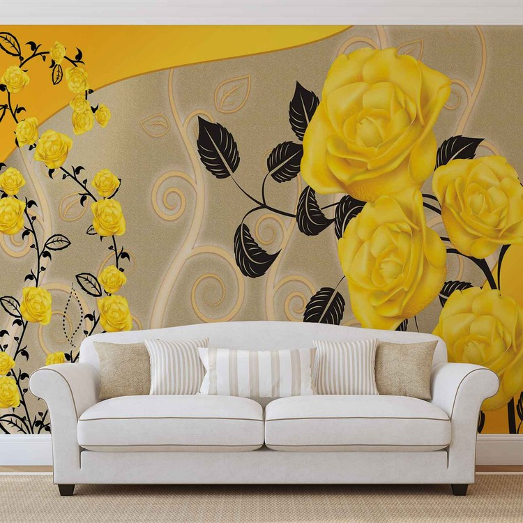 Roses Yellow Flowers Abstract Wallpaper Mural