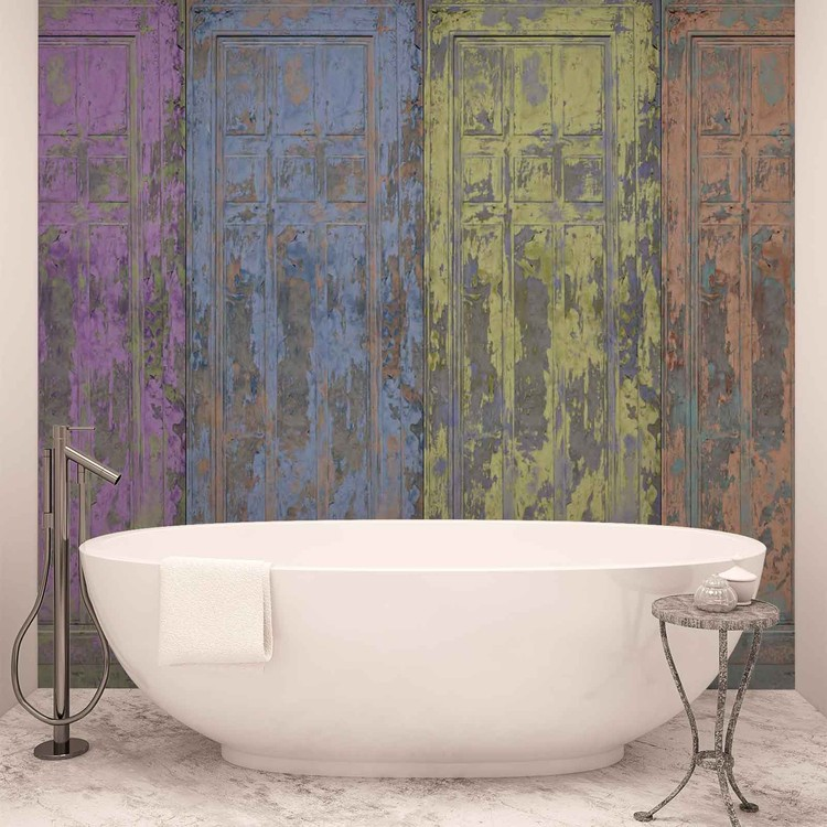 Rustic Painted Wood Doors Wallpaper Mural
