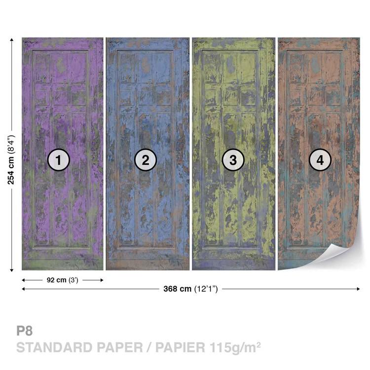 Rustic Painted Wood Doors Wallpaper Mural